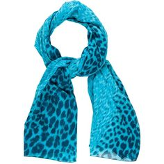 Pre-owned Roberto Cavalli Printed Long Scarf (€80) ❤ liked on Polyvore featuring accessories, scarves, blue, long scarves, long shawl, blue scarves, oblong scarves and patterned scarves