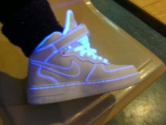 high tops, light, neon, nike, swag