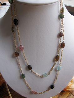 tourmaline awesomeness http://www.etsy.com/listing/74379500/elegant-long-gold-necklace-with