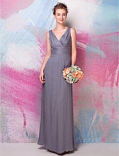 Sheath/Column V-neck Floor-length Silk Bridesmaid Dress – AUD $ 141.57