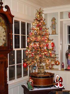 Larry Fraga's antique Christmas ornament tree.