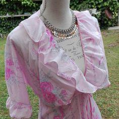 Camicia da notte shabby chic vintage rosa lunga anni 70