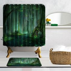 Fantasy-tropical-forest-Bathroom-Fabric-Shower-Curtain-amp-12-Hooks-Home-Decor-71-034