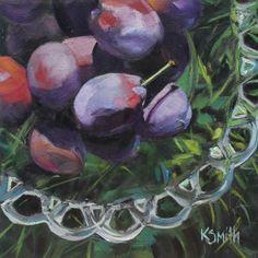bowl of plums original oil painting by Kim Myers Smith | plums | plum art | plum still life | plum painting