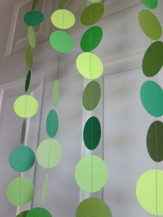 Paper Garland, Shades of Green, St. Patrick's Day Decoration - yellow for gold coins