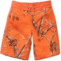 Realtree Boys' Swim Shorts, Orange