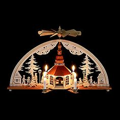 Candle arch with candle pyramid, church of Seiffen (62x27cm/24.4x10.7in)ch by Rauta