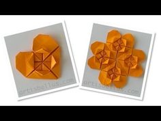 Origami Heart Flower and Heart. This is an amazing step by step video! I finally found one that is accurate :) Diy Origami, Snowflake Origami, Gato Origami, Origami Lotus Flower, Origami Shirt, Origami And Quilling, Origami Ball, Paper Crafts Origami, Heart Origami