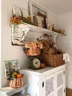 Fall Home Decor, Autumn Home, Vintage Fall Decor, Dining Room Hutch, Primitive Furniture, Bunkhouse, Antique Decor, Home Living Room, Vintage Kitchen