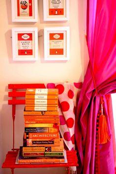 Janelle McCullochs Library of Design: Orange You Glad Orange Is In? Orange Book, Orange Orange, Makeover Tips, Orange You Glad, Game Room Decor, Pink Room, Guest Bedrooms, Home Interior Design, Hot Pink