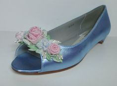 Blue Bridal Garden Shoes Pink Rosebud Bridal by lambsandivydesigns, $135.95