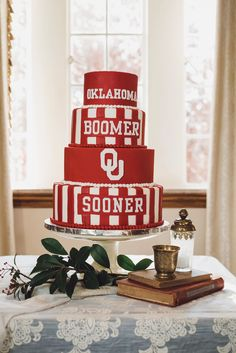 Classic Red and White Wedding -- University of Oklahoma Wedding Purple Wedding Cakes, Fall Wedding Cakes, Wedding Cake Rustic, Wedding Cakes With Flowers, Elegant Wedding Cakes, Wedding Cake Toppers, Flower Cakes, Elegant Cakes, Gold Wedding