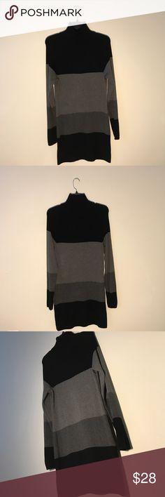 Black & Grey Turtleneck Dress Black & Grey striped turtleneck dress. Can be worn as a shirt. Slims your figure! INC International Concepts Dresses Long Sleeve