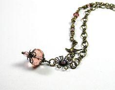 Dusty Rose Vintage Style Pendant Necklace by jewelrybyNaLa on Etsy, $35.75 #onfireteam #lacwe