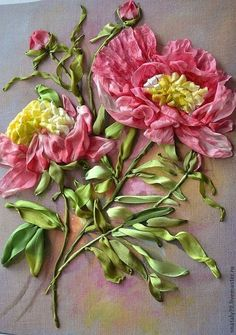 Картины цветов ручной работы. Заказать Картина  вышитая лентами