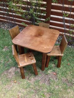 This kids table and chair set is handmade from solid wood. The childrens table top is 24 inches square, and the table height is 20 inches.