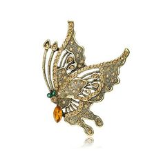 Antique Rhinestone Butterfly Pin Brooch Gold