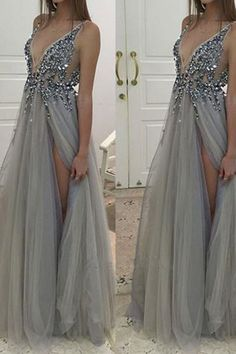 Cute sequins top grey tulle prom dress, ball gown, formal dress with slit