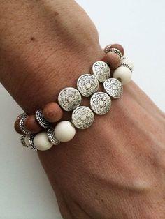 Silver Strings Wood Bracelet- Southwestern Inspired Wood Stretch Bracelet by dAnn