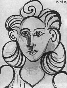 Pablo Picasso Portrait de femme (Françoise Gilot) Pencil on paper, 1944 Pablo Picasso, Picasso Drawing, Picasso Art, Picasso Portraits, Picasso Paintings, Francoise Gilot, Cubist Movement, Atelier D Art, Trinidad