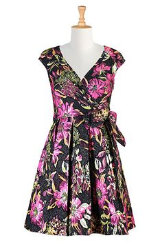 Floral jacquard wrap style dress