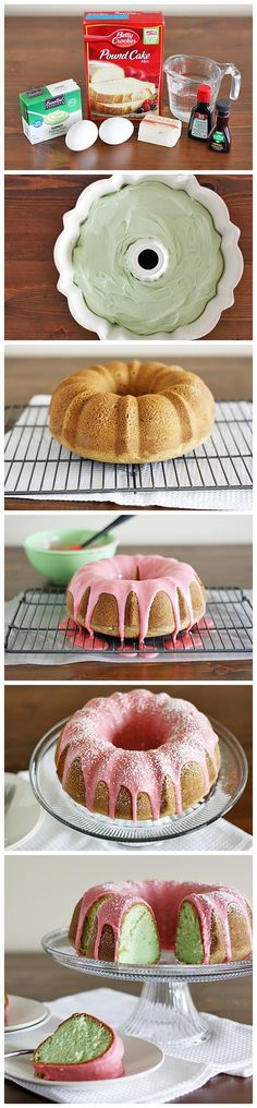 Pistachio Cake with Cherry Icing. I wonder if you could try other pudding flavors... Yum.