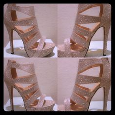 CHAMPAGNE RHINESTONE PROM SHOES 5-inch heel iridescent prom shoe with rhinestone detail throughout shoe NO OFFERS PLEASE PRICE IS AS MARKED. Shoes Heels