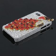 Silver And Red 3D Phoenix Rhinestone Case for iPhone 4/4S  best cases for iphone 4 from www.dealsino.com