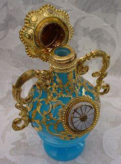"""Palais Royal Blue Opaline Double Handle Perfume Scent Bottle """"HORSE Finial"""""""