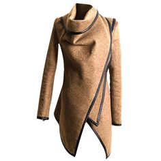 Cekaso Women's Trench Coat Asymmetrical Draped Waterfall Collar Fitted Lapel Jacket * This is an Amazon Affiliate link. Visit the image link more details.