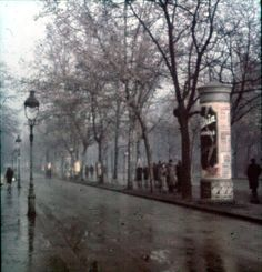 The Andrássy Avenue in the rain, 1940 by Lajos Hollán Its Raining Its Pouring, Old Pictures, Rainy Days, Historical Photos, Hungary, Budapest, World, Artwork, Painting