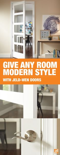 Lighten up your interior with the JELD-WEN MODA European-inspired doors. Easily open up sunrooms and hallways to fill your home with beautiful natural light. Paired with the Schlage Accent Lever in Sa Masonite Interior Doors, Interior Barn Doors, Exterior Doors, Internal Doors, Modern Room, Wooden Doors, Interior Design Living Room, Home Remodeling, Diy Home Decor