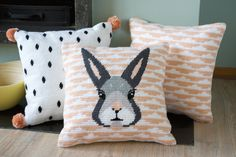 Vervaco kit bunny #cushions #vervaco #longstitch #kit #diy #embroidery