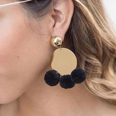 """2,468 Likes, 315 Comments - ELIZABETH AND JAMES (@elizandjames) on Instagram: """"The Stevie Pom Pom Drop Earrings, as seen on @ChicFlavours. Tag a friend for a chance to win 2…"""""""