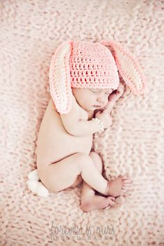 Crochet Easter Bunny Pink Baby Hat Size 03 Months by donnascrochet, $10.00