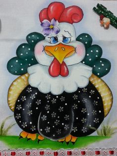 Chicken Crafts, Chicken Art, Tole Painting, Fabric Painting, Arte Do Galo, Chicken Quilt, Diy And Crafts, Arts And Crafts, Chicken Painting