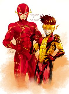 The Flash & Kid Flash - Onlyfuge Kid Flash, Flash Art, Dc Comics Art, Marvel Dc Comics, Flash Comics, Spiderman Art, Batman And Superman, Dc Speedsters, Flash Tv Series