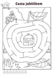 Apple Activities, Infant Activities, Activities For Kids, Preschool Worksheets, Kindergarten Activities, Maze Worksheet, Mazes For Kids, Fall Coloring Pages, Apple Theme