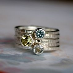 Morning Light Stacking Rings Oro Verde Topaz Sterling Silver
