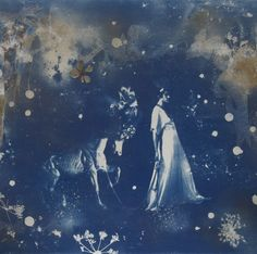 Rosie Emerson, 'Parade'. Hand painted Cyanotype finished with flowers and gold leaf on paper, 112 x 75 cm.  http://artistscollectingsociety.org/news/artist-spotlight-emerson/