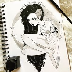 #inktober2016 #witchtacular day 15 Moon. Here is a mopey little witch. I have been struggling threw a little bit of a block this inktober but I'm hoping I'll get over it soon.Still amazed and inspired by all those joining me for #witchtacular you are all amazing and totally showing me up!! Other awesome people doing this witchtacular @savageson @basiatlu @robinsfeather @scott.milton!! My originals are going to be held back to the end of the month for scanning reasons but if your interested…