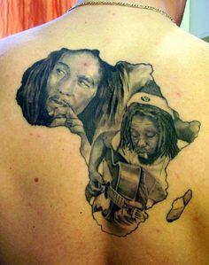 Tattoo FAIL. Bob Marley wasn't from Africa. Lawd...