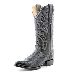 Circle G Black Full Quill Ostrich Cowboy Boots (Tent Sale)