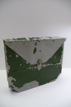 Vintage wall File Mailbox Chippy green metal box by MySeriousSide, $24.00