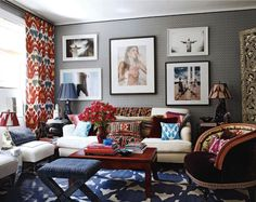 Not sure I could handle all of this pattern for a long period of time, but in small doses the play of scale between the fabrics and floor/wall coverings is brilliant (and masterfully balanced).
