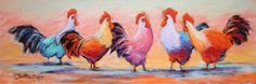 Quintet - pastel rooster painting - click to see larger image Rooster Painting, Doodles, Birds, Larger, Pastel, Animals, Image, Chicken, Art