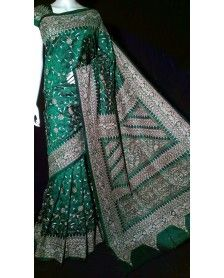 Green Silk Kantha hand embroidered Saree