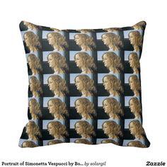 Portrait of Simonetta Vespucci by Botticelli Throw Pillows