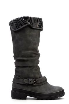 Janni & Janni Grey Ruched Buckle Knee High Boots Size UK 6 EU 39 New