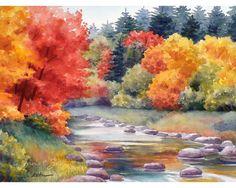 Autumn Landscape Print Watercolor Fine Art by by ZehOriginalArt, $20.00